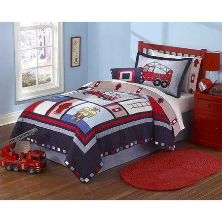 Fireman Quilt and Sham Set - Twin Size