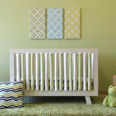 Wonder Bumper Vertical Crib Liners - Green & White - 24 Pack