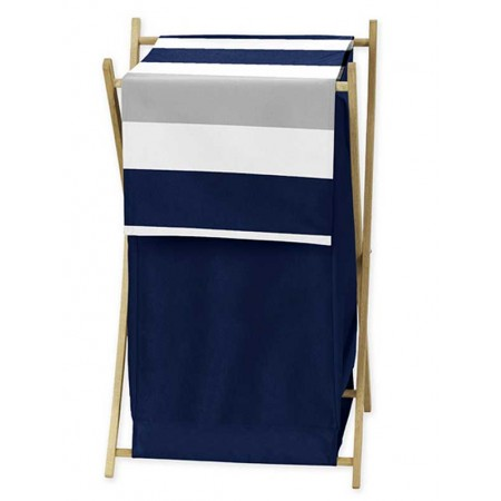 Navy & Gray Stripe Hamper