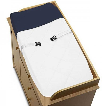 Hotel White & Navy Blue Changing Pad Cover