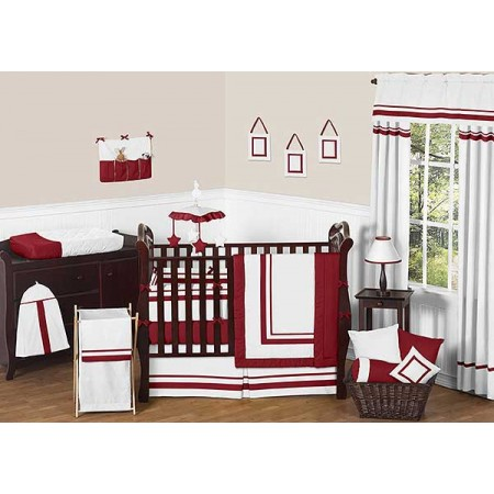 Hotel White & Red Baby Bedding Set by Sweet Jojo Designs - 9 piece