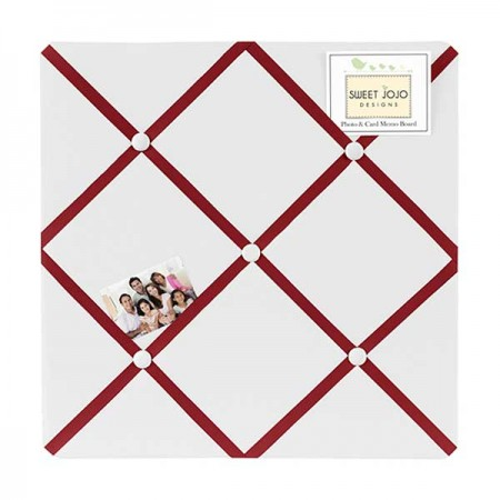 Hotel White & Red Fabric Memo Board