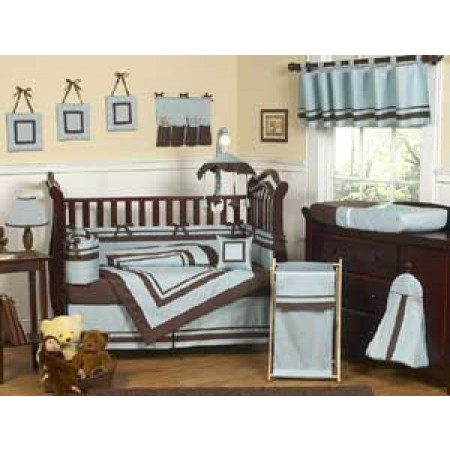 Hotel Blue Crib Bedding Set by Sweet Jojo Designs - 9 piece