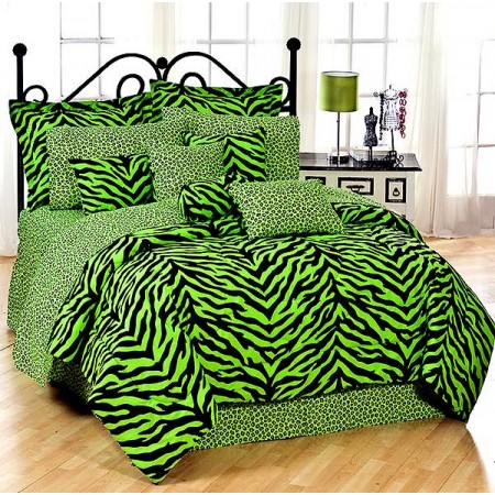 Lime Green Zebra Print Extra Long Twin Size Bed in a Bag Set for Dorm Rooms