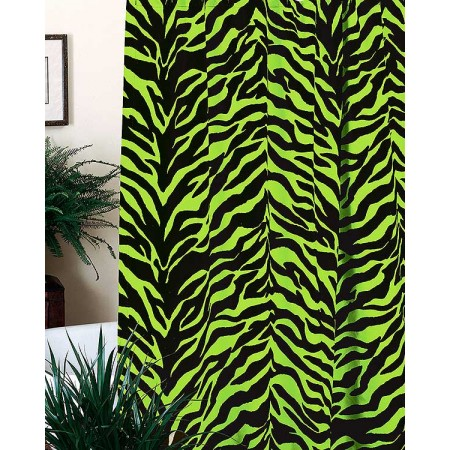Black & Lime Green Zebra Print Shower Curtain