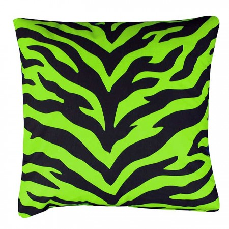 Black & Lime Green Zebra 18 X 18 Square Pillow