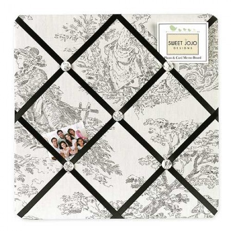 Black French Toile Fabric Memo Board