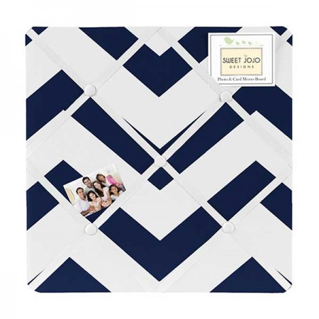 Navy & White Chevron Print Fabric Memo Board