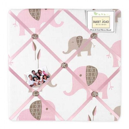 Elephant Pink & Taupe Fabric Memo Board