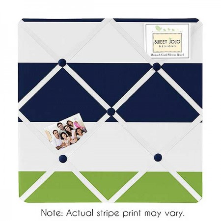 Navy & Lime Stripe Fabric Memo Board