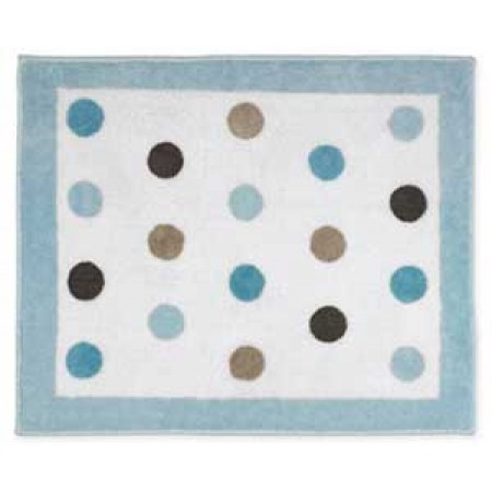 Blue and Brown Mod Dots Floor Rug