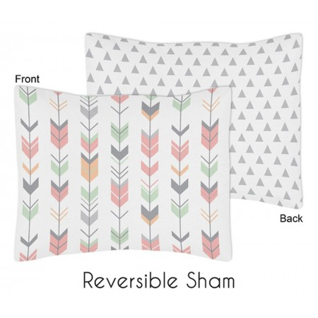 Mod Arrow Gray, Coral & Mint Pillow Sham