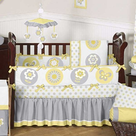 Mod Garden Crib Bedding Set by Sweet Jojo Designs - 9 piece