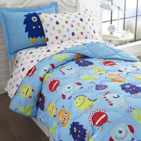 Olive Kids Monsters Twin Size 5 piece Bed in a Bag Set