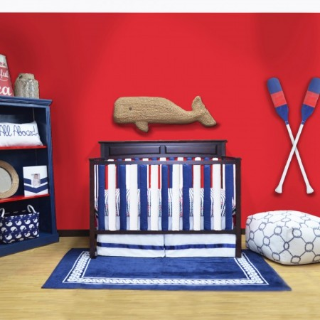 Wonder Bumper Vertical Crib Liners - Navy Blue & White - 38 Pack