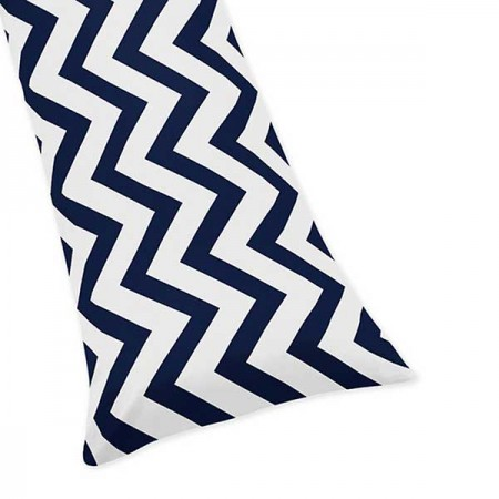Navy & White Chevron Print Body Pillow Cover