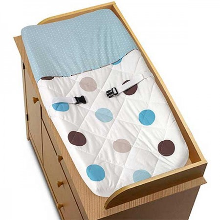 Blue and Brown Mod Dots Changing Pad Cover