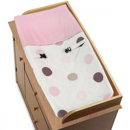Pink and Brown Mod Dots Changing Pad Cover