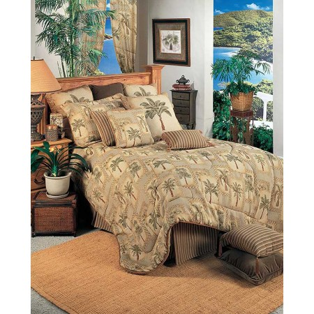 Palm Grove Tropical Comforter Set - Queen Size