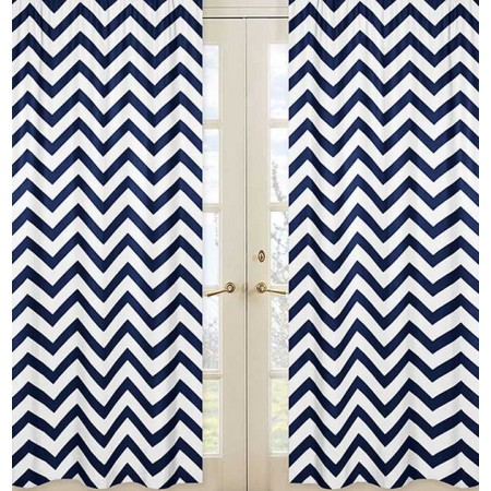 Navy & White Chevron Print Window Panels