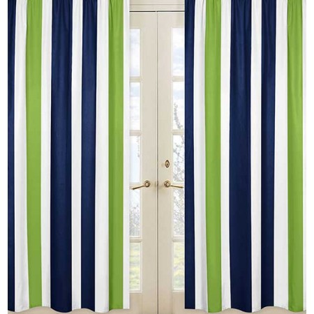 Navy & Lime Stripe Window Panels