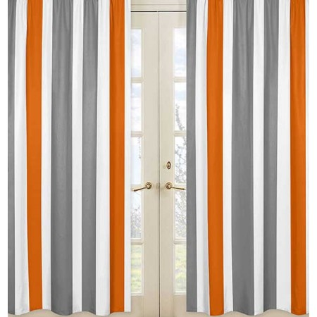 Gray & Orange Stripe Window Panels