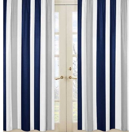 Navy & Gray Stripe Window Panels