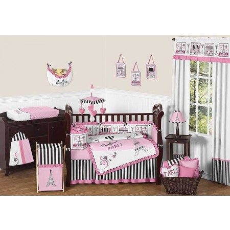 Paris Crib Bedding Set by Sweet Jojo Designs - 9 piece
