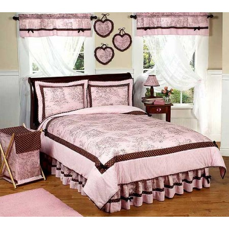 Pink & Brown Toile Queen Size Comforter Set by Sweet Jojo Designs