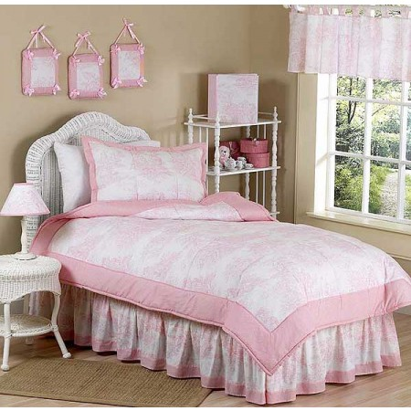 Pink Toile Queen Size Bedskirt