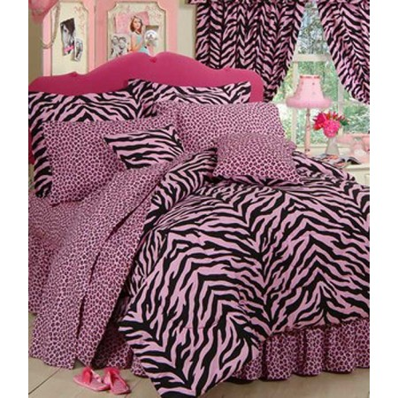 Pink Zebra Print Bed in a Bag Set