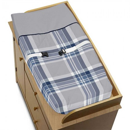 Plaid Navy Blue and Gray Changing Pad Cover
