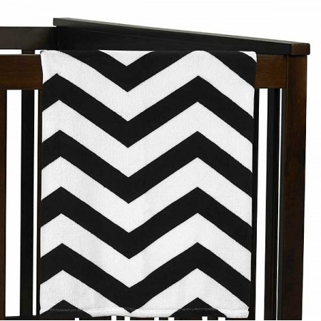 Black & White Chevron Plush Baby Blanket