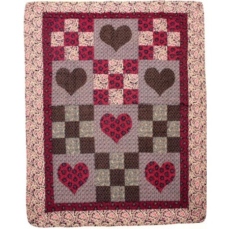 Primitive Hearts Throw Size Quilt Throw