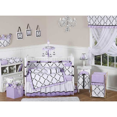 Princess Black, White and Purple Crib Bedding Set by Sweet Jojo Designs - 9 piece