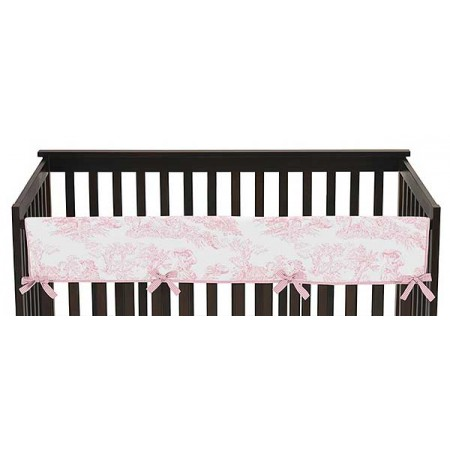 Pink French Toile Collection Long Rail Guard Cover