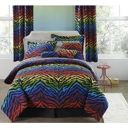 Rainbow Zebra Bed in a Bag Set - Queen Size