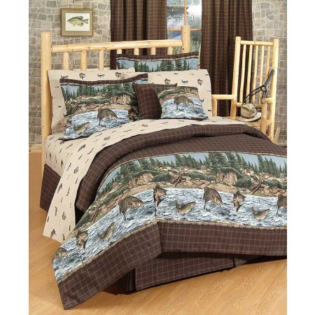 River Fishing Comforter Set - Queen Size