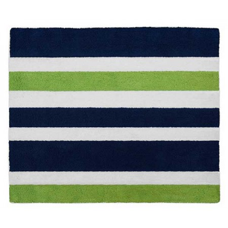 Navy & Lime Stripe Floor Rug