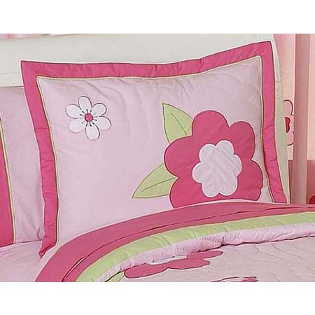 Flower Pink And Green Pillow Sham