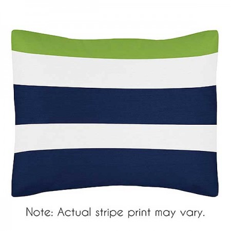 Navy & Lime Stripe Pillow Sham