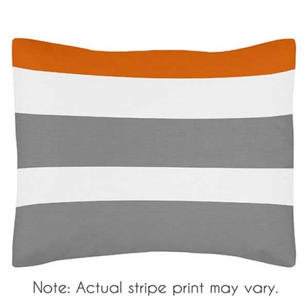 Gray & Orange Stripe Pillow Sham