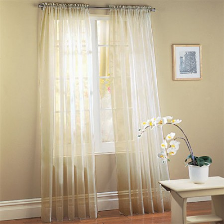 Ivory Sheer Window Panel Set - Set Of 2