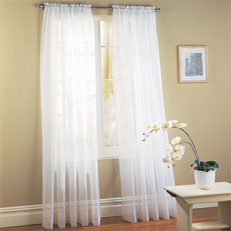 White Sheer Window Panel Set - Set Of 2