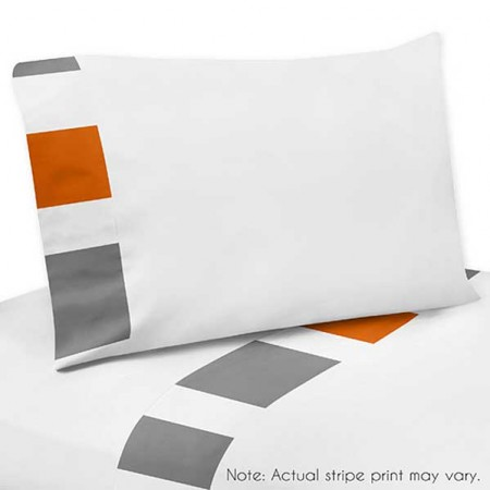 Gray & Orange Stripe Sheet Set