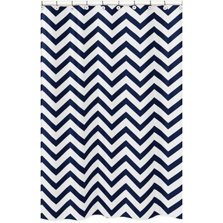 Navy & White Chevron Print Shower Curtain