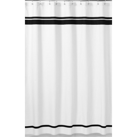Hotel White & Black Shower Curtain
