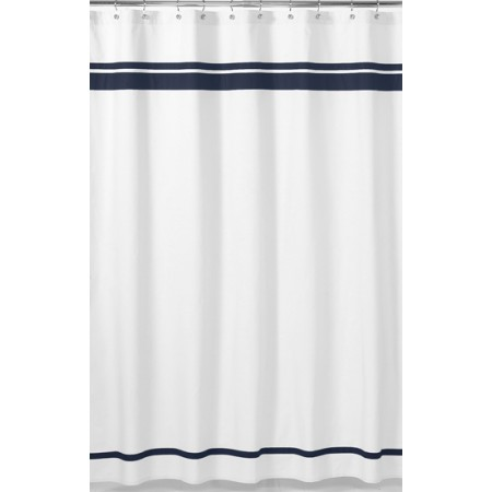 Hotel White & Navy Blue Shower Curtain