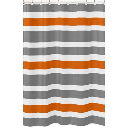 Gray & Orange Stripe Shower Curtain