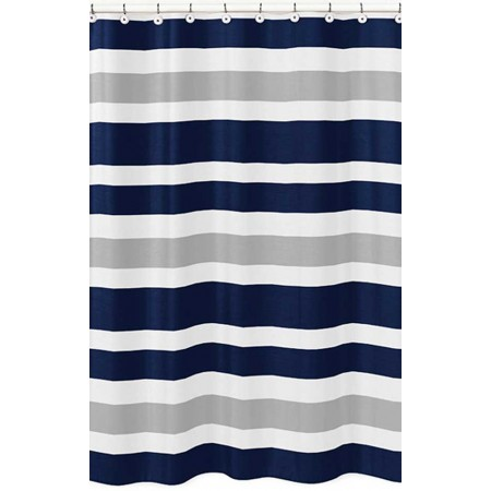 Navy & Gray Stripe Shower Curtain